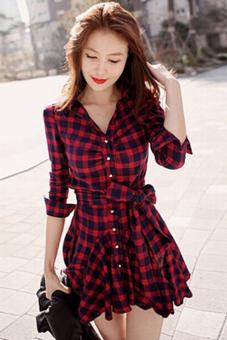 Buytra Women Blouse Long Sleeve Swing Hem Dress Black+Red