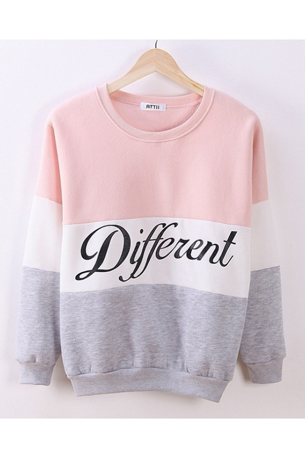 Buytra Women Colored Sweatshirt Casual Thick Long Sleeve Pink ...