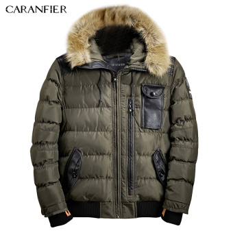 BYL caranfier jacket men length jacket men clothing zipper coat male (Green)