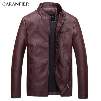 BYL caranfier leather jackets mens Pu casual biker jacket (Red)