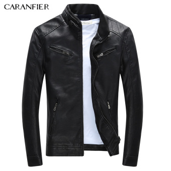 BYL caranfier men casual leather jacket zippers sided fashion coat (Black)