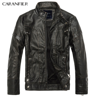 BYL caranfier men leather jacket fashion motorcycle coats (Black)