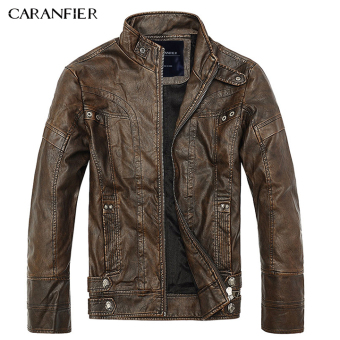 BYL caranfier men leather jacket fashion motorcycle coats (Brown)