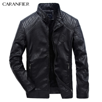 BYL caranfier men warm jacket fashion Pu faux leather coats (Black)