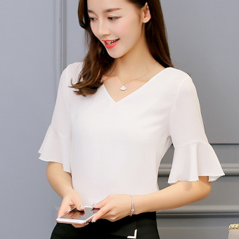 BYL chiffon shirt women short-sleeved t-shirt fashion T-shirt (White)