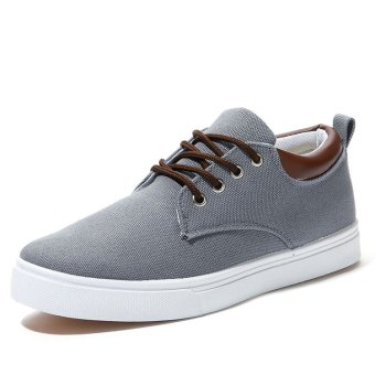 BYL flat canvas men bare for outdoor breathable casual shoes (Dark gray)