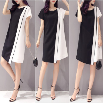 BYL stitching chiffon Slim fit slimming dress