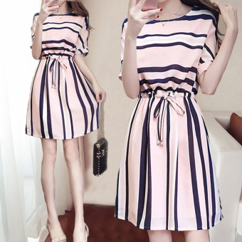 BYL Striped short sleeved round neck A-line dress Dress