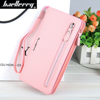 BYT Baellery Long Women Leather Zipper Wallet 201502 ( Pink ) - Intl