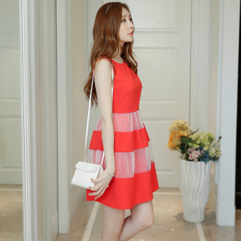 Caidaifei fashion chiffon spring and summer New style dress (Red) (Red)