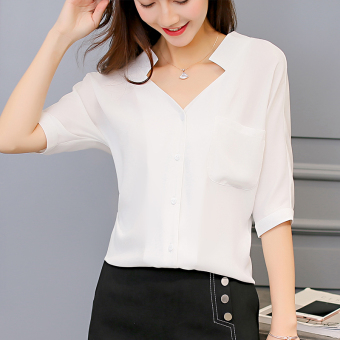 Caidaifei fashion Slim fit Plus-sized half-sleeve shirt chiffon shirt Korean-style shirt (White) (White)