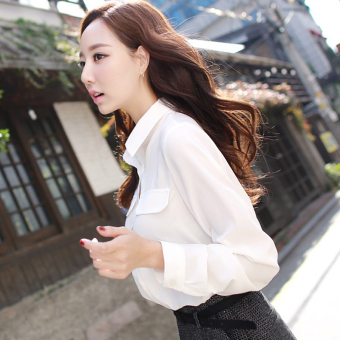 Caidaifei Korean solid color women's Slim fit white shirt Top
