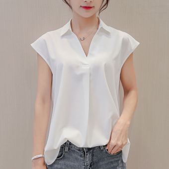 Caidaifei Korean-style Slim fit Plus-sized sleeveless shirt base shirt (White)