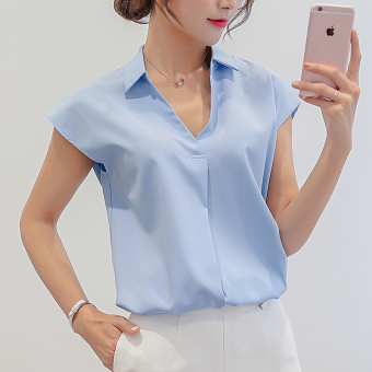 Caidaifei Korean-style solid base sleeveless chiffon white shirt Plus-sized shirt (Sky