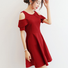 PHP 444. Caidaifei Korean-style solid color Slim fit short sleeved elegant dress for women ...