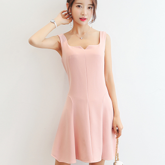 Caidaifei Korean-style solid Slim fit sleeveless casual dress (Pink) (Pink)