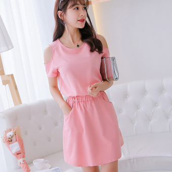Caidaifei Korean-style solid spring and summer New style versatile dress (Pink) (Pink)