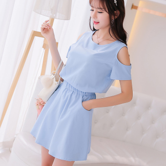 Caidaifei Korean-style solid spring and summer New style versatile dress (Sky blue color) (Sky blue color)