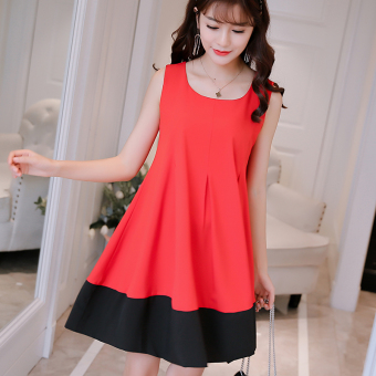 Caidaifei Korean-style spring and summer New style Slim fit versatile dress (Red)