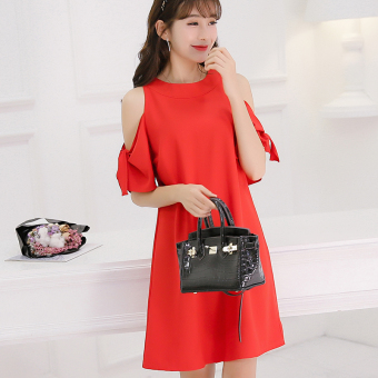 Caidaifei Korean-style spring and summer New style slimming chiffon dress Dress (Red) (Red)