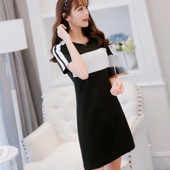 Caidaifei Korean-style spring and summer New style slimming dress (Monochrome) (Monochrome)