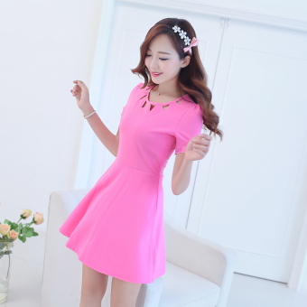 Caidaifei Korean-style spring and summer New style Women's Plus-sized dress (Short sleeved Light rose)