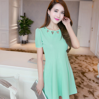Caidaifei Korean-style spring and summer New style Women's Plus-sized dress (Short sleeved mint green)