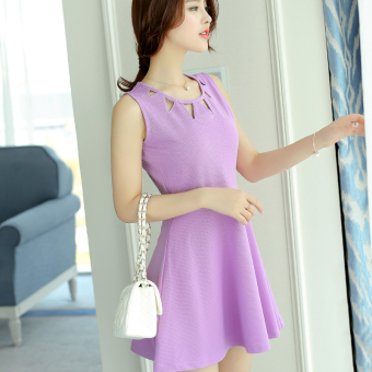 Caidaifei Korean-style spring and summer New style Women's Plus-sized sleeveless knit dress (Purple) (Purple)