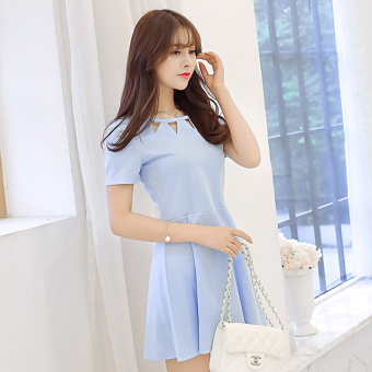Caidaifei sexy Slim fit short sleeved porous round neck dress women's dress (Light blue)