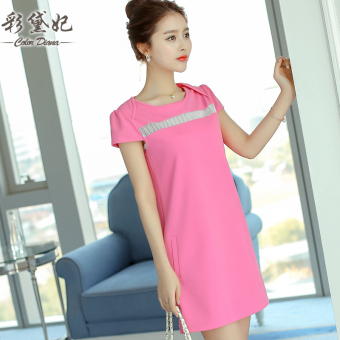 Caidaifei sexy spring and summer New style Women's Plus-sized knit dress (Light rose) (Light rose)