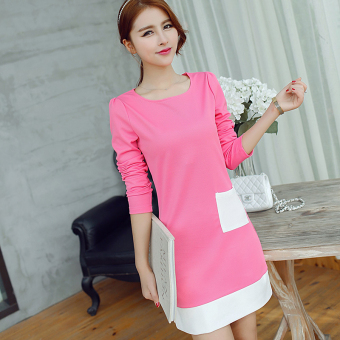 Caidaifei spring and summer New style Slim fit knit dress (Light rose) (Light rose)