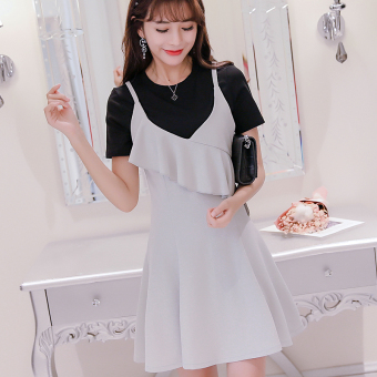 Caidaifei spring and summer New style Women's Plus-sized Korean-style short sleeved dress