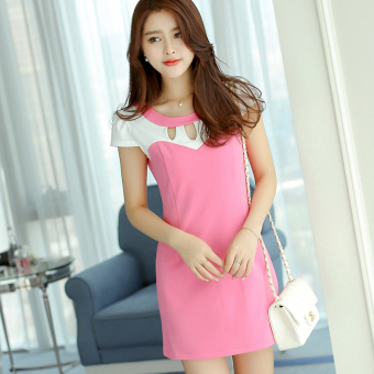 Caidaifei Stylish spring and summer New style Slim fit short sleeved knit dress (Light rose)