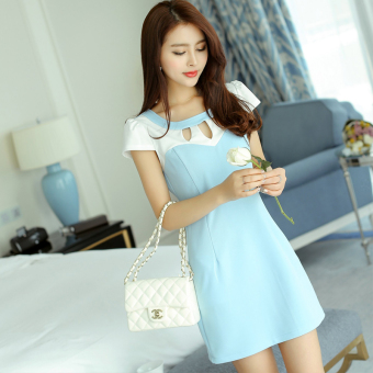 Caidaifei Stylish spring and summer New style Slim fit short sleeved knit dress (Sky blue color)