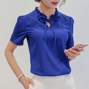 CALAN DIANA Women's Fashion Chiffon Short Long Sleeve Shirt Color Varies (Sapphire blue color (short sleeved))