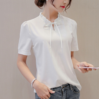 CALAN DIANA Women's Fashion Chiffon Short Long Sleeve Shirt Color Varies (White (short sleeved))