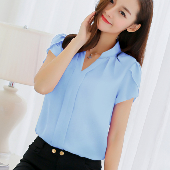 CALAN DIANA Women's Fashion V-Neck Chiffon Short Sleeve Shirt Color Varies (Light Blue)