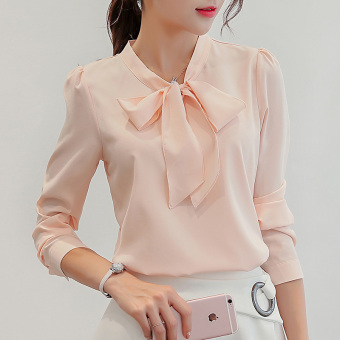CALAN DIANA Women's Korean-style Chiffon Short Long Sleeve Shirt (Pink)