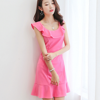 CALAN DIANA Women's Korean-style Fashionable Large Size Short Sleeve Underskirt Dress (Rose color)