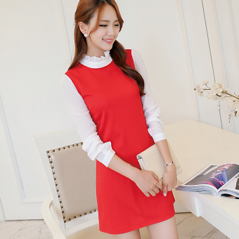CALAN DIANA Women's Korean-style Gored Knitted Long Sleeve Underskirt Dress