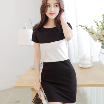 CALAN DIANA Women's Korean-style Gored Knitted Short Sleeve Dress (Black)