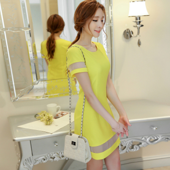 CALAN DIANA Women's Korean-style Lady Short Sleeve Underskirt Dress (Bright yellow)