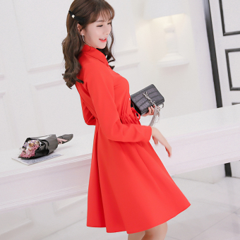 CALAN DIANA Women's Korean-style Large Size Chiffon Long Sleeve Dress (Red)