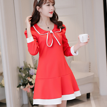 CALAN DIANA Women's Korean-style Large Size Solid Color Long Sleeve Underskirt Dress (Red)