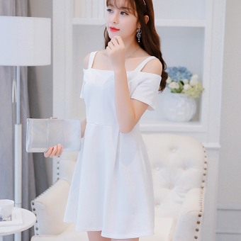 CALAN DIANA Women's Korean-style Large Size Strapped Knitted Dress (White)