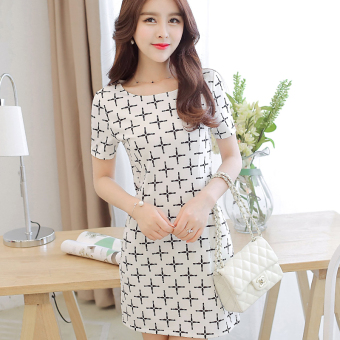 CALAN DIANA Women's Korean-style Large Size Tunic Knitted Short Sleeve Underskirt Dress