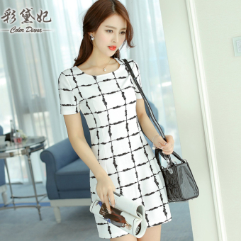 CALAN DIANA Women's Korean-style Lattice Print Tunic Knitted Short Sleeve Underskirt Dress