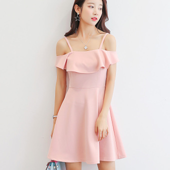 CALAN DIANA Women's Korean-style Leisure Solid Color Short Sleeve Underskirt Dress (Pink)