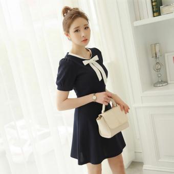 CALAN DIANA Women's Korean-style Puff Sleeve Knitted Dress