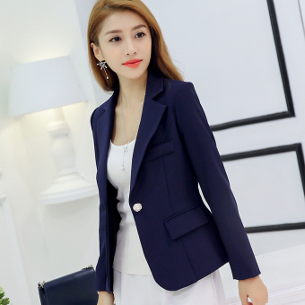 CALAN DIANA Women's Korean-style Slim Fit Long Sleeve Suit Blazer (Dark blue color RRR96)